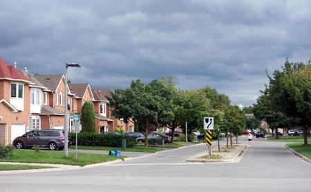 suburban: Suburban street on September 4, 2013 in Richmond Hill, Canada Editorial