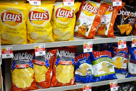Potato chips selection in a supermarket on September 14, 2013 in Toronto