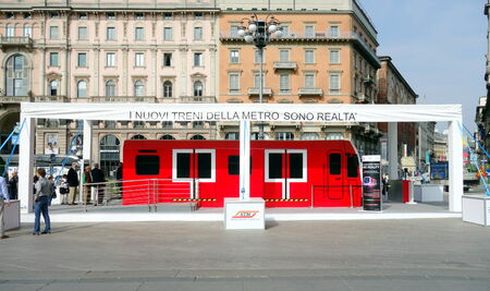 MILAN, ITALY - APRIL 12, 2014  New subway train on display in Duomo square in Milan, Italy