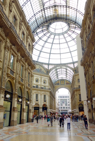 world's: MILAN, ITALY - APRIL 12, 2014  Galleria Vittorio Emanuele II in Milan, one of the world s oldest shopping malls, built between 1865 and 1877  Editorial