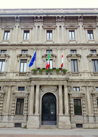 mayoral: MILAN, ITALY - APRIL 12, 2014  Palazzo Marino, home of the city hall council in Milan  Editorial