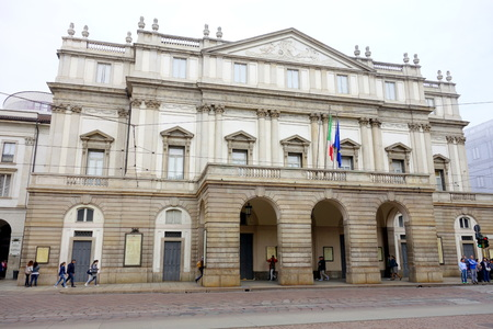 MILAN, ITALY - APRIL 12, 2014  The main facade of the Teatro Alla Scala in Milan, Italy