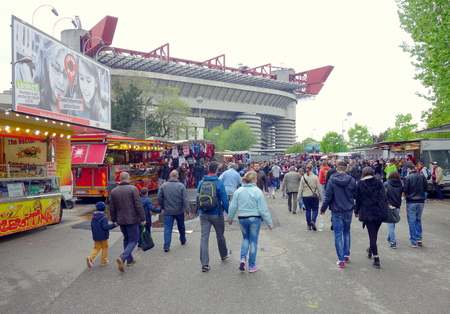 Milan, Italy - April 19, 2014  Fans walking towards SAn Siro stadium before an AC Milan home game in Milan, Italy