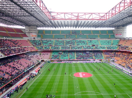serie: Milan, Italy - April 19, 2014  A view of the San Siro Stadium during an AC Milan home Serie A game in Milan, Italy Editorial