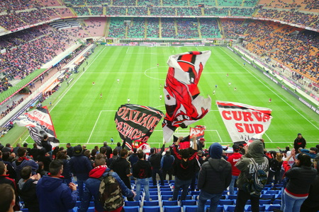 Milan, Italy - April 19, 2014  A view of the San Siro Stadium during an AC Milan home Serie A game in Milan, Italy 報道画像