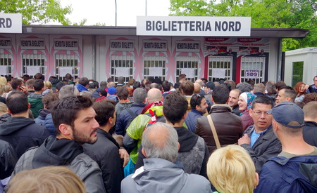 Milan, Italy - April 19, 2014  Fans at the ticket office before an AC Milan home game