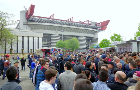 Milan, Italy - April 19, 2014  Fans walking towards SAn Siro stadium before an AC Milan home game in Milan, Italy Editorial