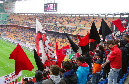Milan, Italy - April 19, 2014  A view of the San Siro Stadium during an AC Milan home Serie A game in Milan, Italy