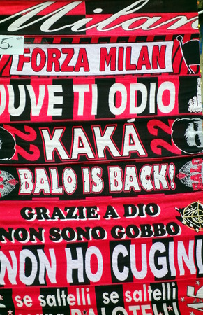 MILAN, ITALY - APRIL 19, 2014  AC Milan supporters memorabilia outside San Siro stadium in Milan, Italy