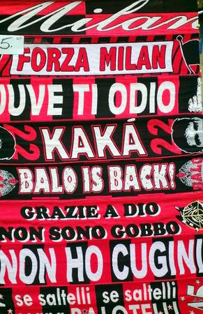 memorabilia: MILAN, ITALY - APRIL 19, 2014  AC Milan supporters memorabilia outside San Siro stadium in Milan, Italy