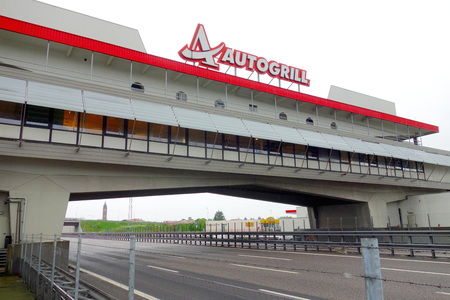 MILAN, ITALY - APRIL 21, 2014  An Autogrill restaurant and supermarket outside Milan, Italy  Autogrill runs operations in 40 different countries, primarily in Europe and North America  Editoriali
