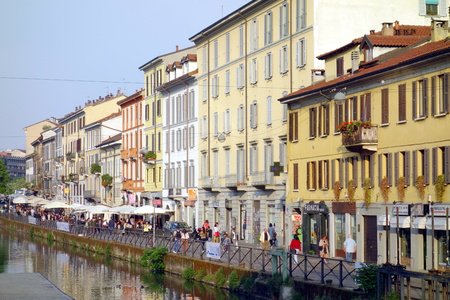 milánó: MILAN, ITALY - APRIL 23, 2014: View of the Naviglio Grande in Milan, Italy
