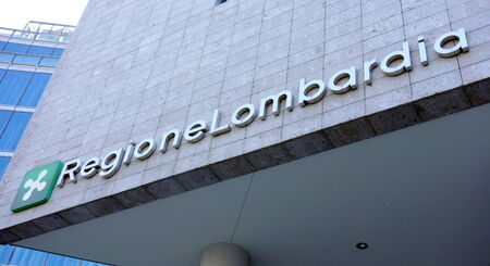 MILAN, ITALY - APRIL 26, 2014: The Regione Lombardia sign in Milan, Italy