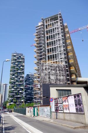 Milan, Italy - April 26, 2014: New condo building under construction in Milan, Italy