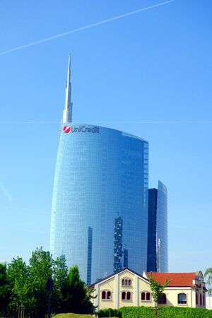 MILAN, ITALY - APRIL 26, 2014: The Unicredit Tower (Torre Unicredit) is a skyscraper in Milan, Italy. With a height of 231 metres (758 ft), it is the tallest building in Italy.
