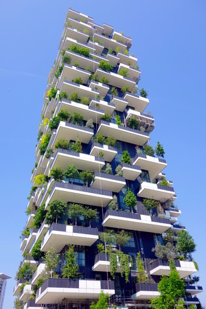 MILAN, ITALY - APRIL 26, 2014: The new Bosco Verticale building in Milan, Italy. 報道画像