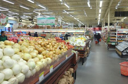 Asian supermarket aisle in Toronto, Canada