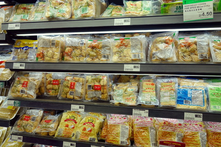 Tofu selection at an Asian supermarket in Toronto, Canada Redakční