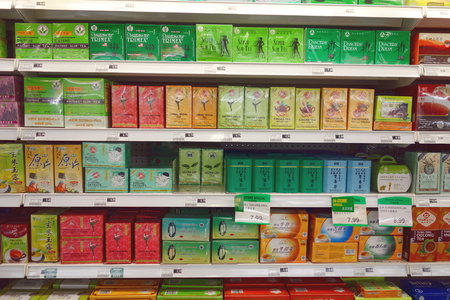 Tea packages selection at a Chinese supermarket in Toronto, Canada