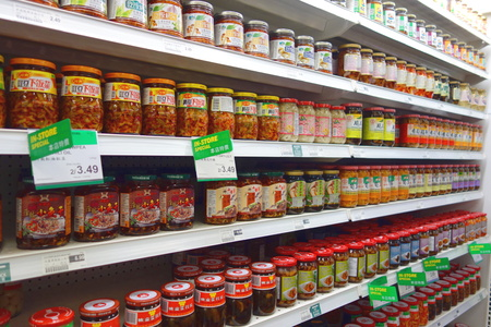 Asian cuisine products in jars at a supermarket in Toronto, Canada