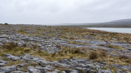 hillwalking: the rugged landscape of Burren in Ireland Stock Photo