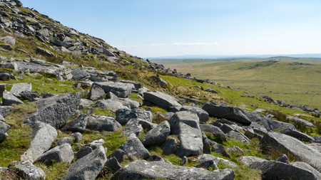 visibility: The landscape of Dartmoor in Cornwall and Devon, England Stock Photo