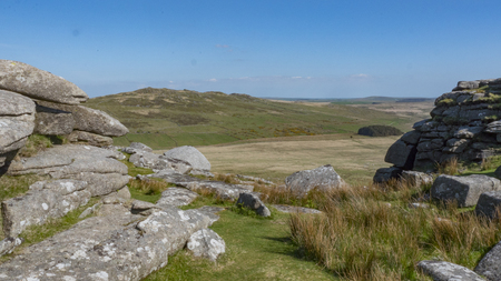 The landscape of Dartmoor in Cornwall and Devon, England Stock Photo