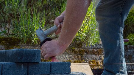bricklayer tools man working on construction site
