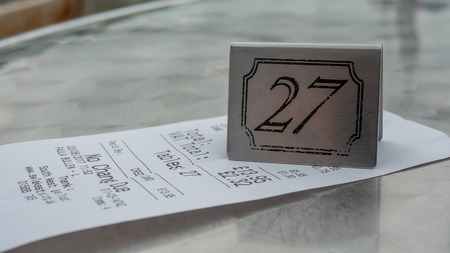 Bill and table number from cafe