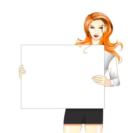 beautifu: Women hold white blank board  Illustration