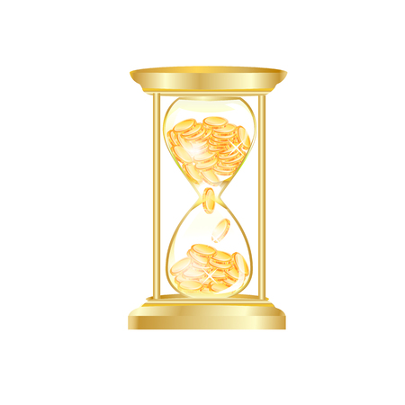 sand dollar: gold hourglass make money vector