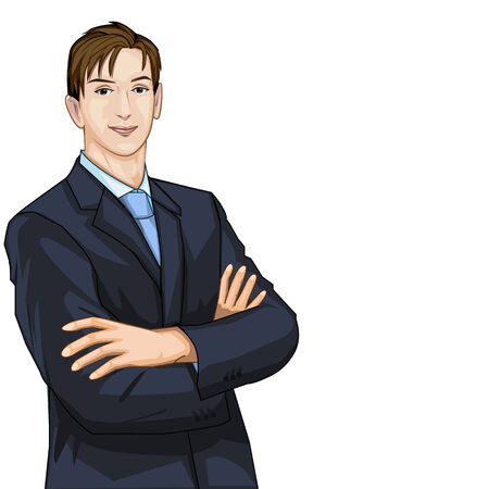 folded hands: Vector business man in suit with folded hands