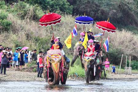 traditionally: Amazing thailand,Sukhothai,Thailand,April 7,2014 Elephant parade traditionally ordained at Hat Siao