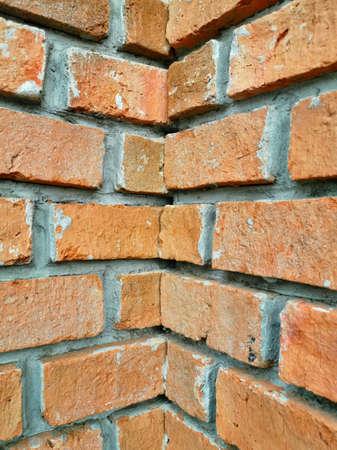 The corners of the brick walls. interlocking brick wall.