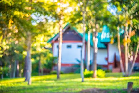 Wazig huis en tuin met bomen in de achtertuin. Mooi plattelandshuis met groene tuin op bokehachtergrond.