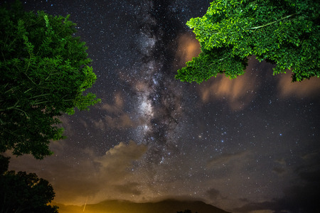 Fog, milkyway and nebula in Thailand outback. Beautiful milkyway astrophotography background. Stock Photo