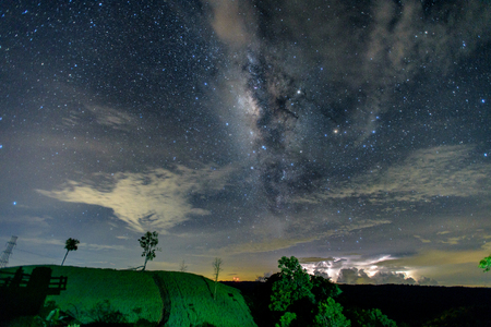 Clearly milkyway and nebula in Thailand outback. Beautiful milkyway astrophotography background. Stock Photo