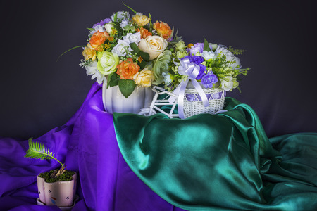 Flower arrangement on the table cloth Stock Photo