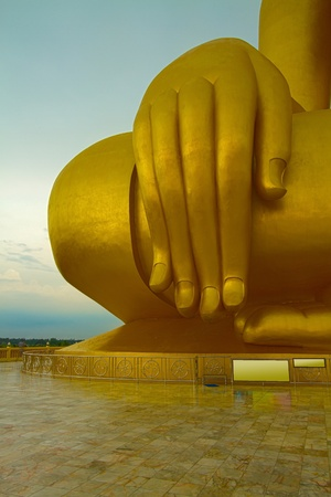 Luang Por Yai:Buddha Nawamin Sakayamuni Statue Sri Wiset Chai Chan.Holy largest Buddha in Thailand, Wat Muang Ang Thong. photo