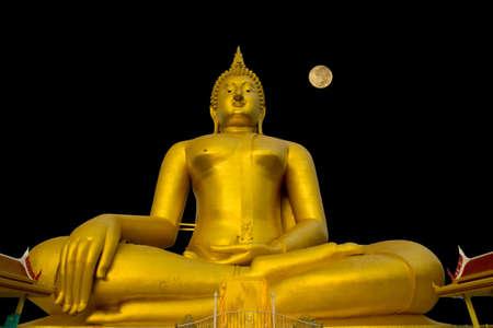 stock photographs: Luang Por Yai:Buddha Nawamin Sakayamuni Statue Sri Wiset Chai Chan.Holy largest Buddha in Thailand, Wat Muang Ang Thong.