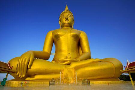 far eastern: Luang Por Yai:Buddha Nawamin Sakayamuni Statue Sri Wiset Chai Chan.Holy largest Buddha in Thailand, Wat Muang Ang Thong.