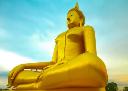 free stock: Luang Por Yai:Buddha Nawamin Sakayamuni Statue Sri Wiset Chai Chan.Holy largest Buddha in Thailand, Wat Muang Ang Thong.
