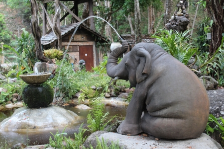 The elephent statue with the fountain,Chiengmai Thailand