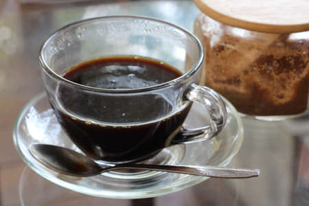 Black coffee in clear cup Stock Photo