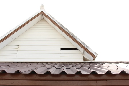 Gable and roof isolated on white Stock Photo