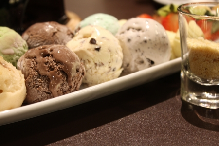 chocolate ice cream: Icecream and topping Stock Photo