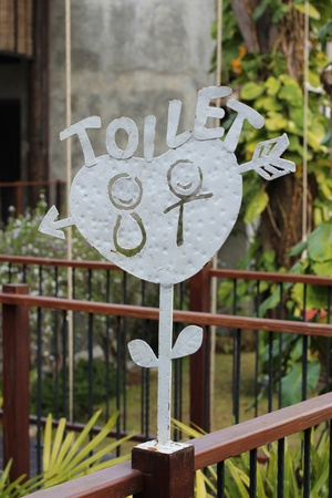 TOILET stenciled on metal sign photo