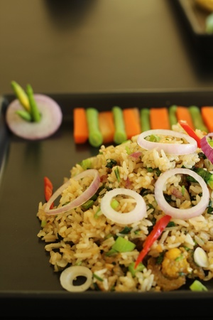 Thai cuisine - Fried rice with dried fish photo