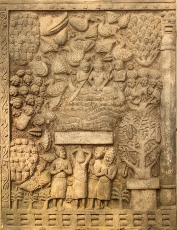 past civilizations: Stone carvings in the temple,Wat Umong,Chiangmai,Thailand