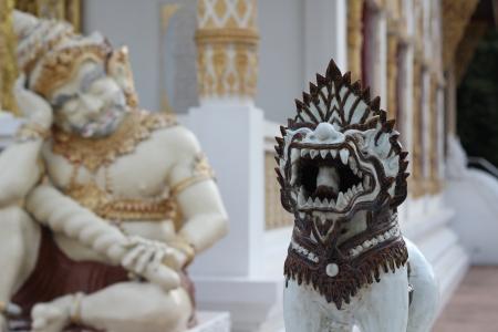 Singha statue in the temple, Watpadarapirom, Maerim, Chiangmai, Thailand Stock Photo